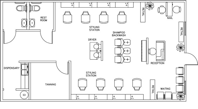 Beauty Salon Floor Plan Design Layout - 1160 Square Foot