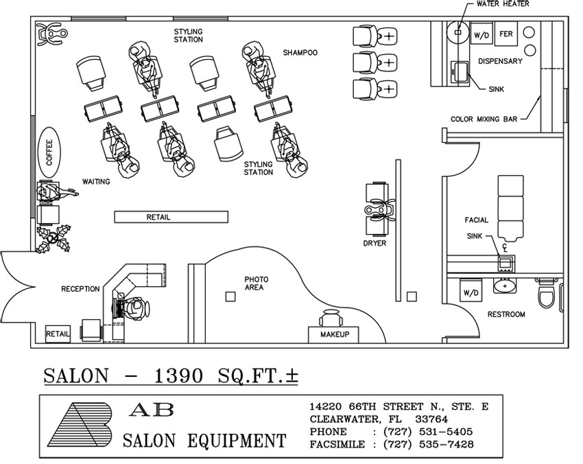 Photo auto body shop floor plans images emejing home for Ab salon equipment