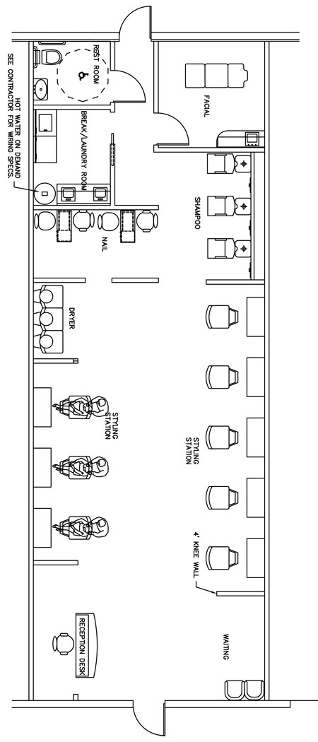 Beauty Salon Floor Plan Design Layout - 1400 Square Foot