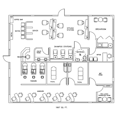 Salon & Spa Design Floorplan Layout - 1967 Square Feet