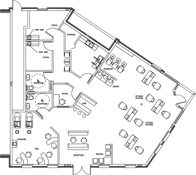 Beauty Salon Floor Plan Design Layout - 2232 Square Foot