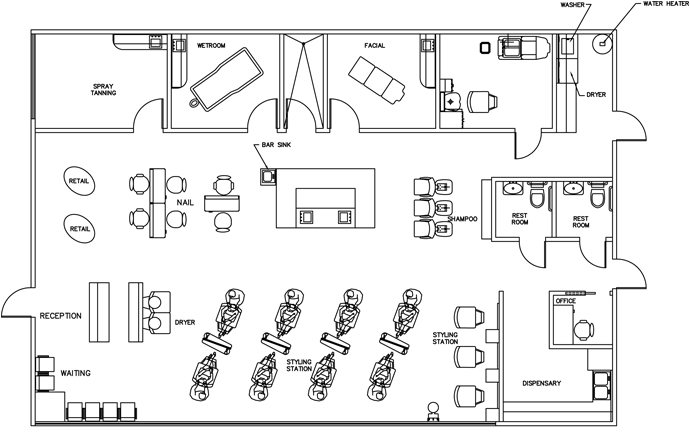 Beauty Salon Floor Plan Design Layout - 2385 Square Foot