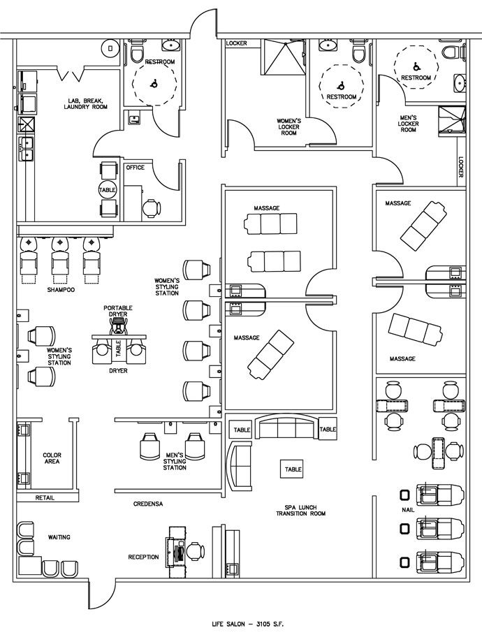 Salon & Spa Floor Plan Design Layout - 3105 Square Feet