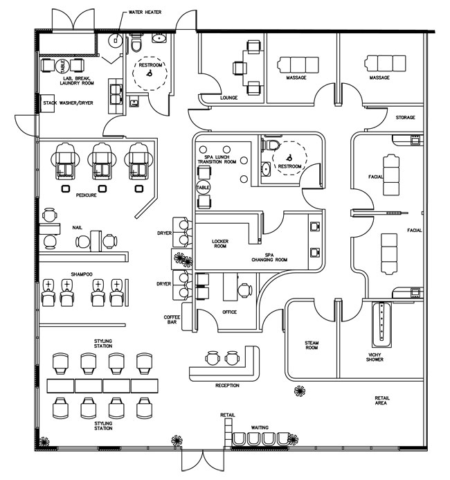 Beauty Salon Floor Plan Design Layout - 3375 Square Foot