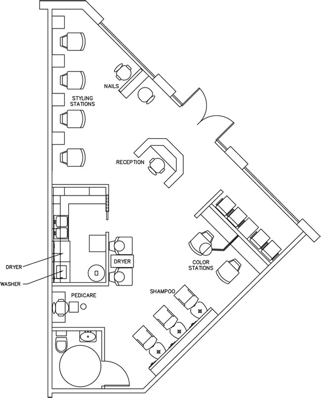 Beauty Salon Floor Plan Design Layout - 890 Square Foot