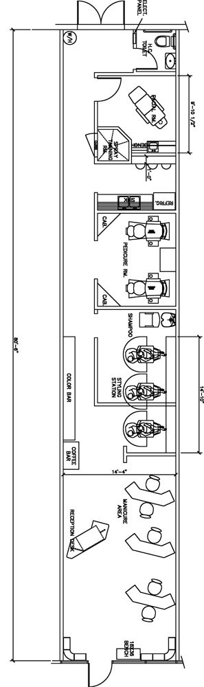 Beauty Salon Floor Plan Design Layout - 1120 Square Foot