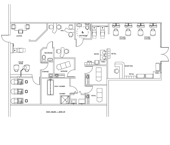 Beauty Salon Floor Plan Design Layout - 2045 Square Foot
