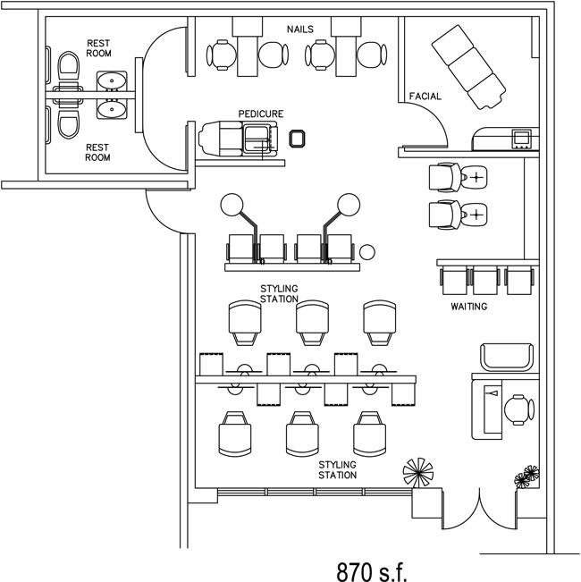 Salon Floor Plan Design Layout - 870 Square Feet