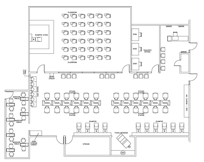 Cosmetology Technical School - Interior Design Floorplan Layout - 4040 Square Feet